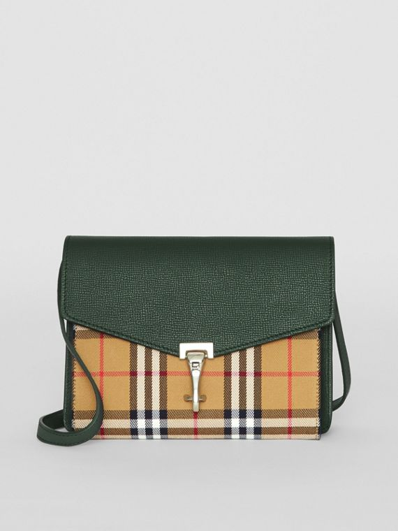 Small Vintage Check and Leather Crossbody Bag in Green