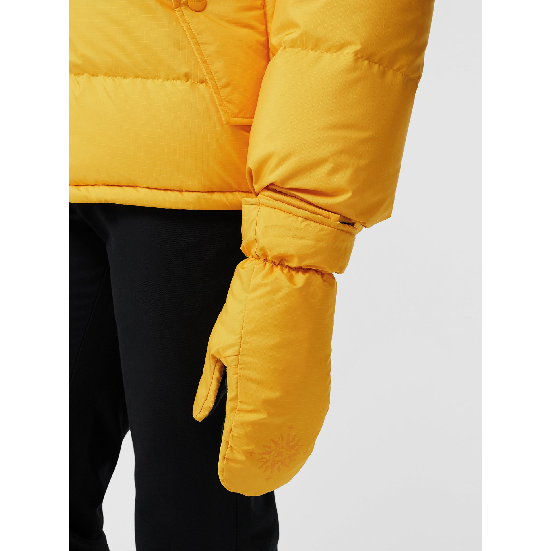 Down-filled Anorak with Detachable Mittens in Bright Yellow - Men | Burberry United Kingdom - gallery image 4