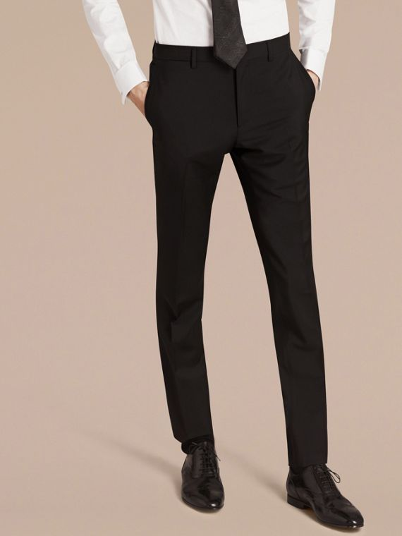 Slim Fit Wool Mohair Part-canvas Suit in Black - Men | Burberry Hong Kong - cell image 3