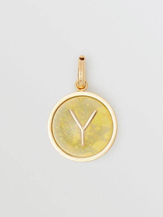Marbled Resin 'Y' Alphabet Charm in Gold/mimosa