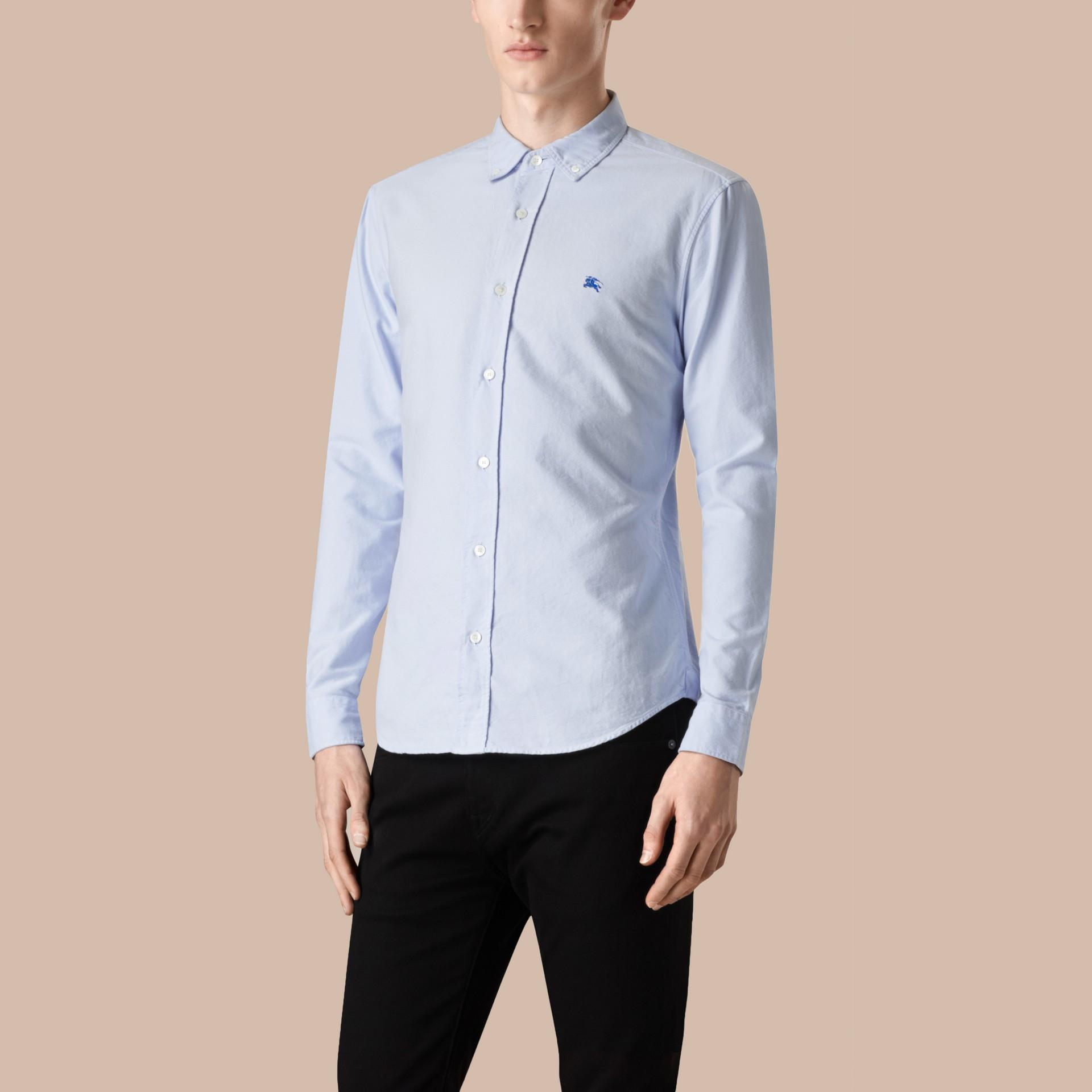 Hellblau Oxford-Hemd aus Baumwolle Hellblau - Galerie-Bild 4