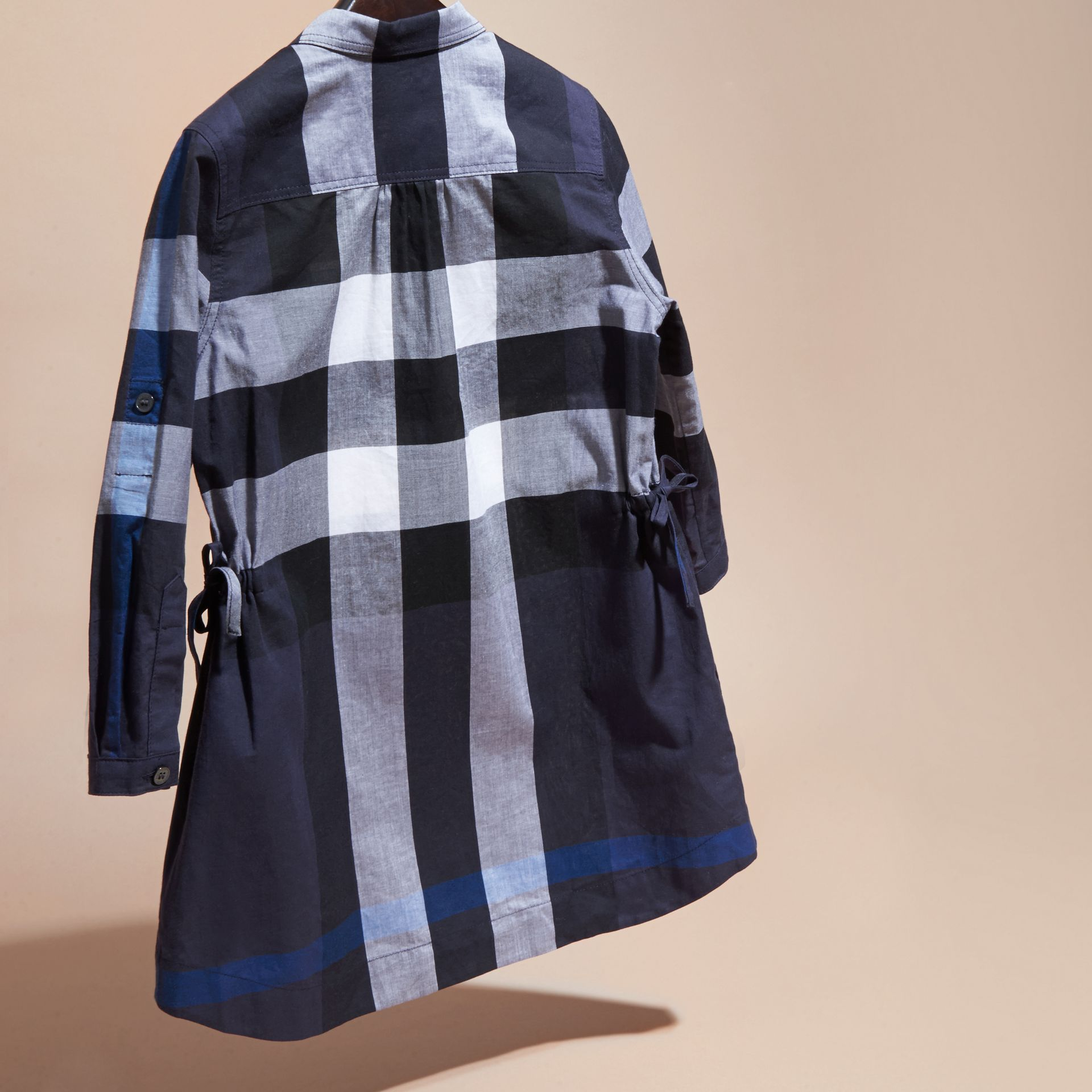 Navy check Check Cotton Shirt Dress Navy - gallery image 4
