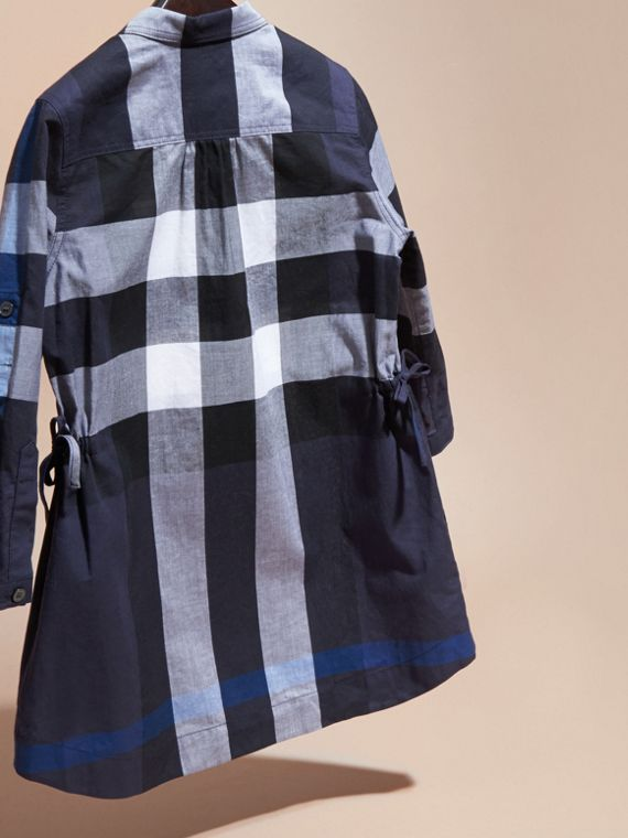 Check Cotton Shirt Dress Navy - cell image 3