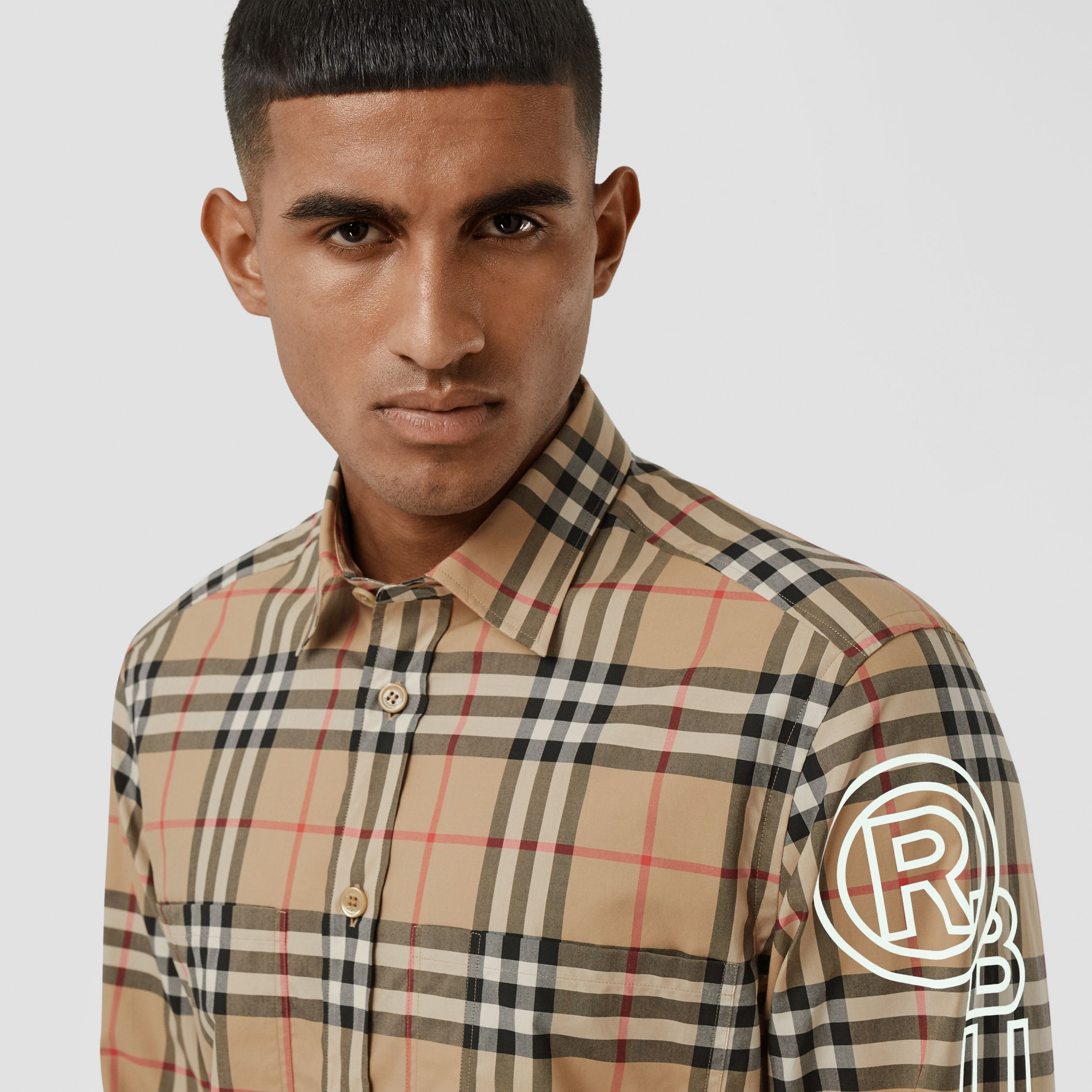 Logo Print Vintage Check Cotton Poplin Shirt in Archive Beige - Men | Burberry - 2