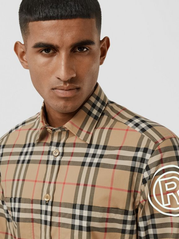 Logo Print Vintage Check Cotton Poplin Shirt in Archive Beige - Men | Burberry - cell image 1