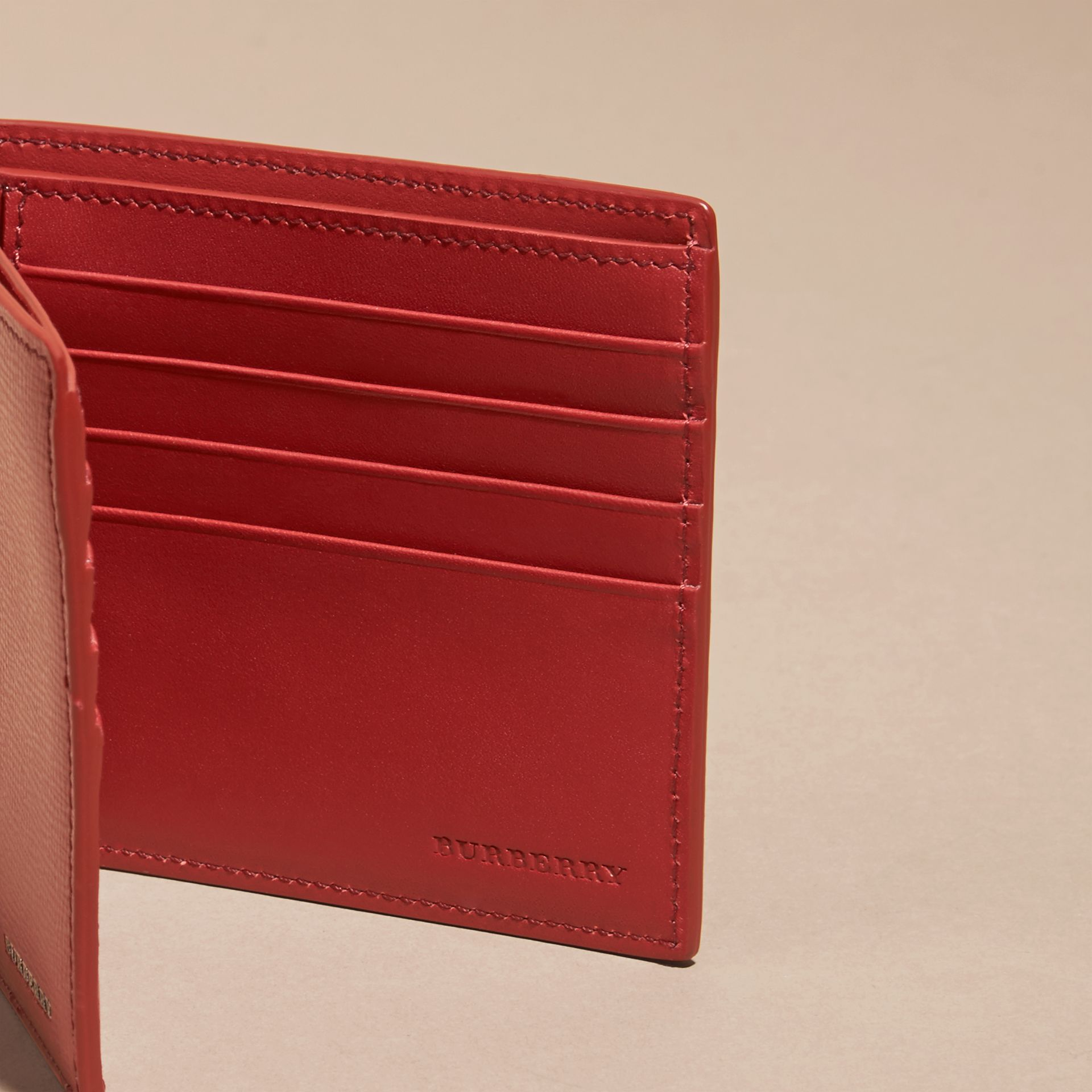 Dark military red London Leather Folding Wallet - gallery image 5