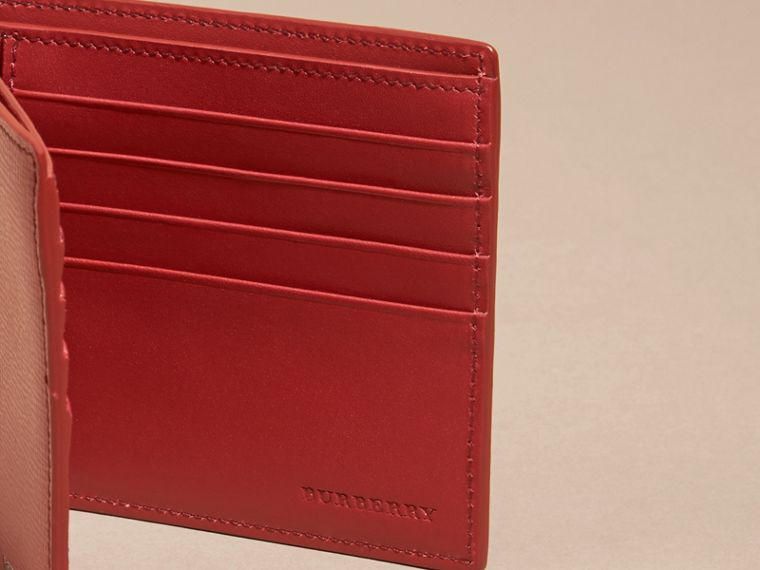 Dark military red London Leather Folding Wallet - cell image 4