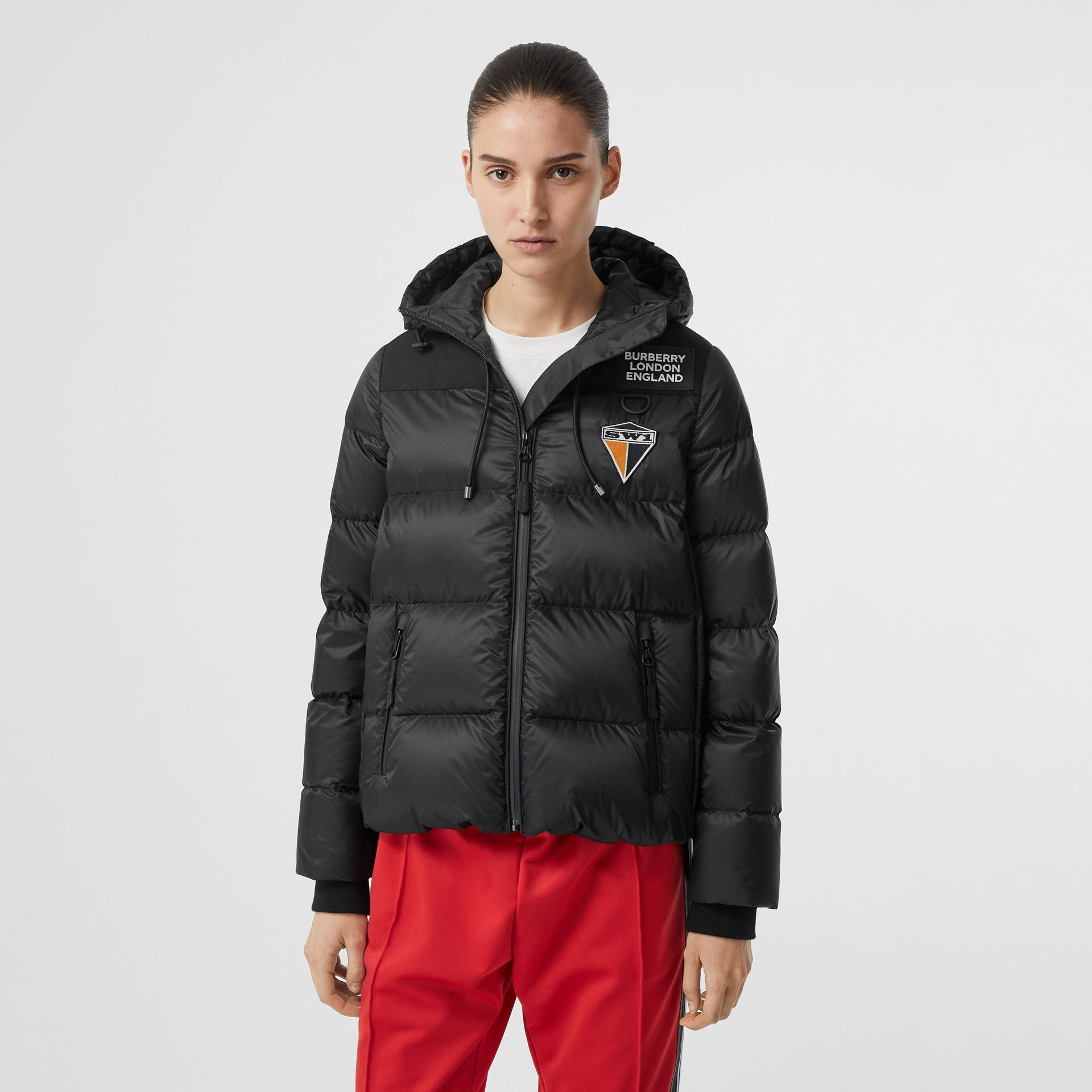 Logo Graphic Hooded Puffer Jacket in Black - Women | Burberry United Kingdom - gallery image 4