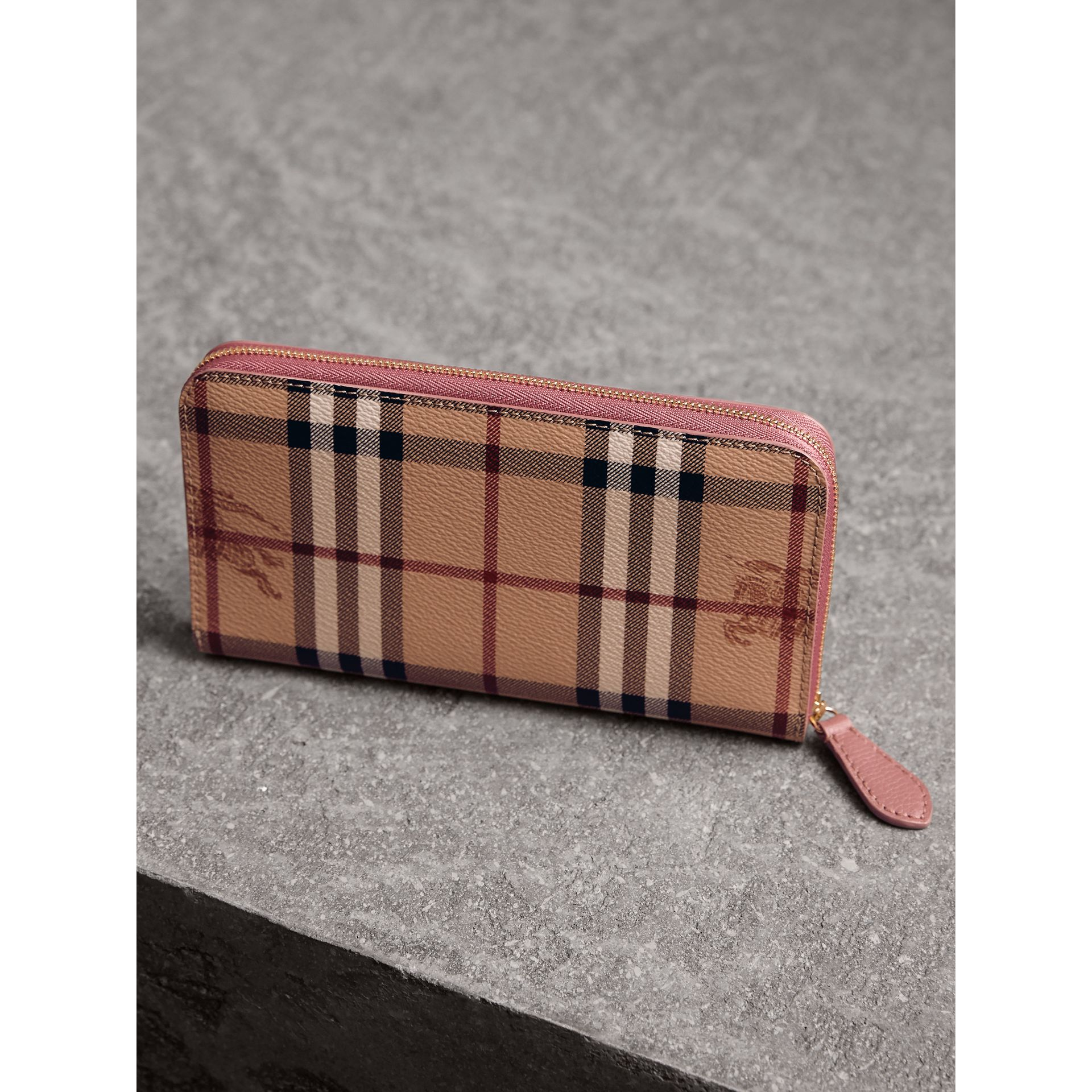 Haymarket Check and Leather Ziparound Wallet in Light Elderberry - Women | Burberry - gallery image 3