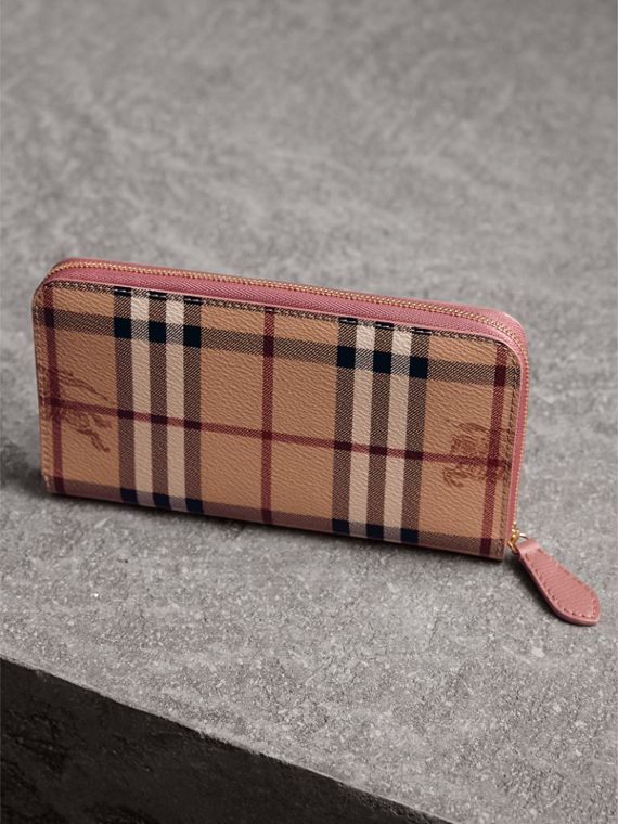 Haymarket Check and Leather Ziparound Wallet in Light Elderberry - Women | Burberry - cell image 2