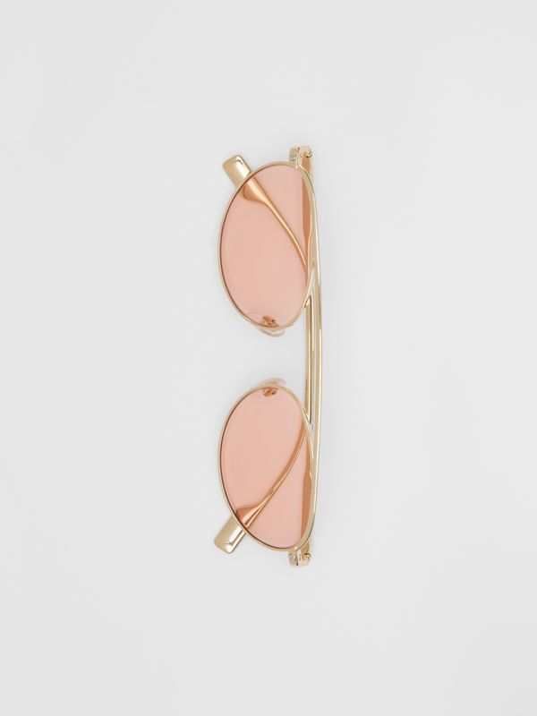 Oval Frame Sunglasses in Light Pink - Women | Burberry - cell image 3