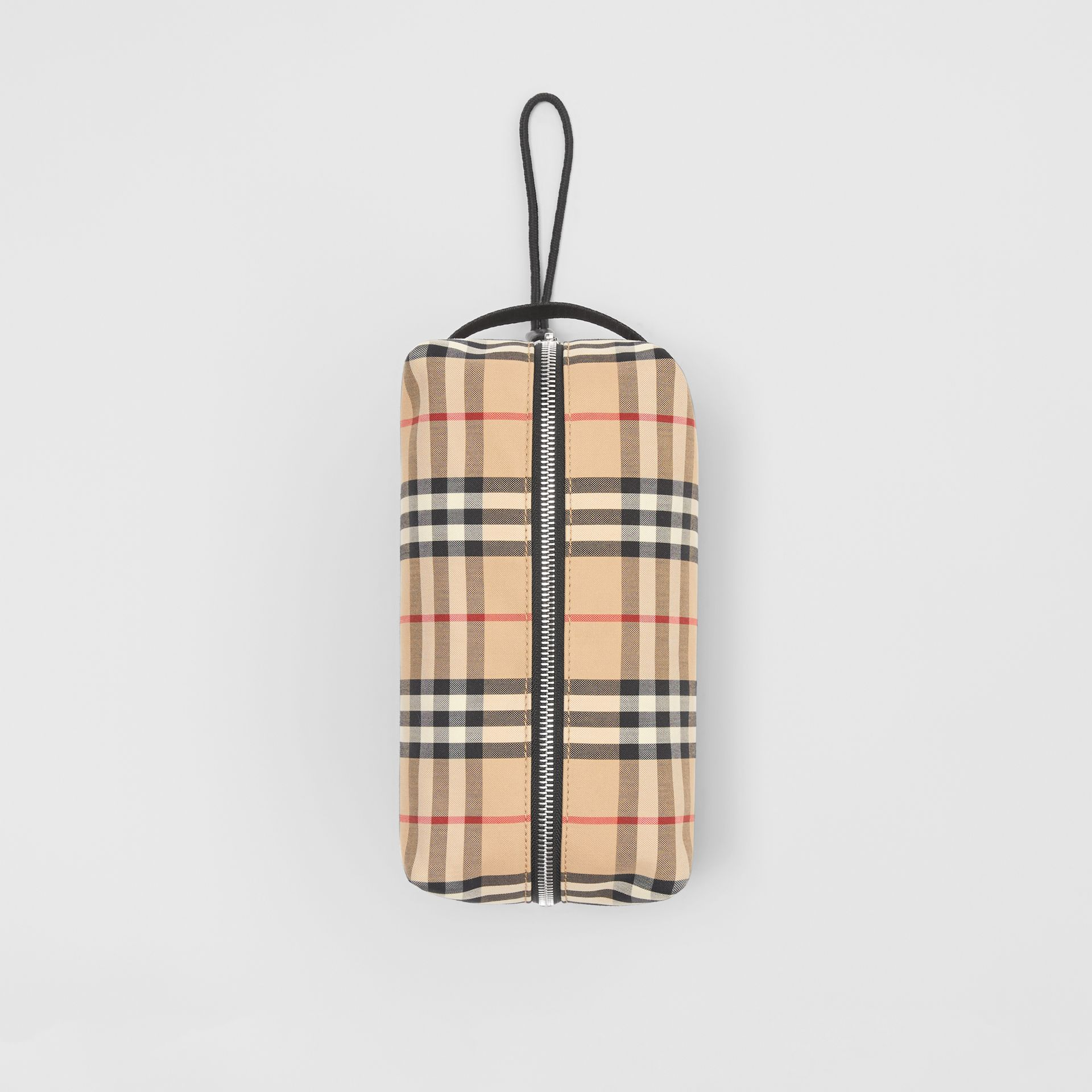 Vintage Check and Leather Pouch in Archive Beige | Burberry Hong Kong S.A.R - gallery image 3