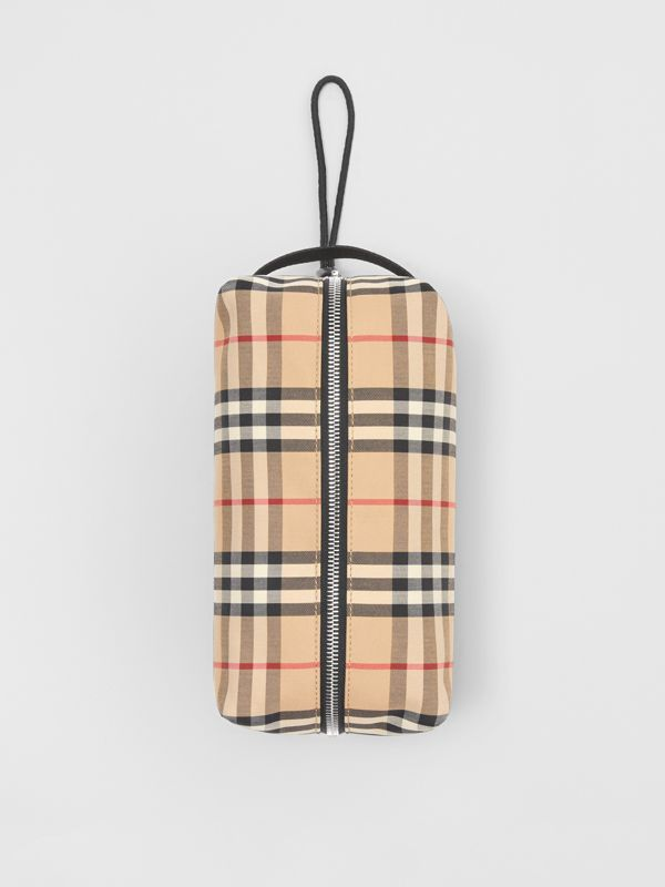 Vintage Check and Leather Pouch in Archive Beige | Burberry Hong Kong S.A.R - cell image 3