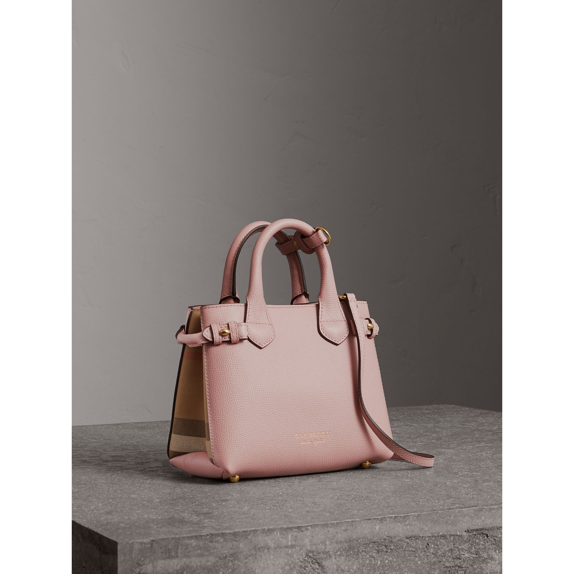 The Baby Banner in Leather and House Check in Pale Orchid - Women | Burberry - gallery image 0