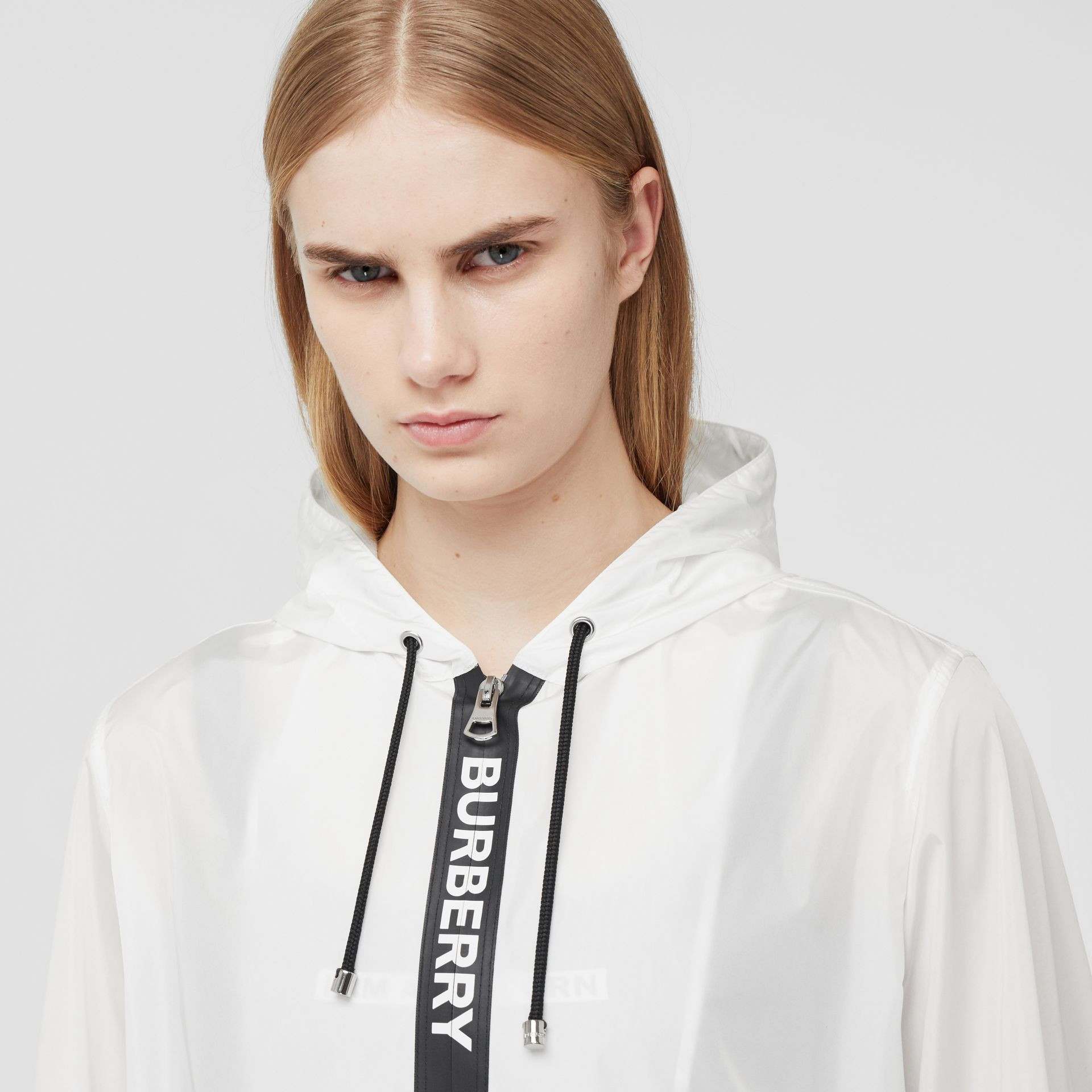 Logo Tape ECONYL® Hooded Jacket in Optic White - Women | Burberry - gallery image 1