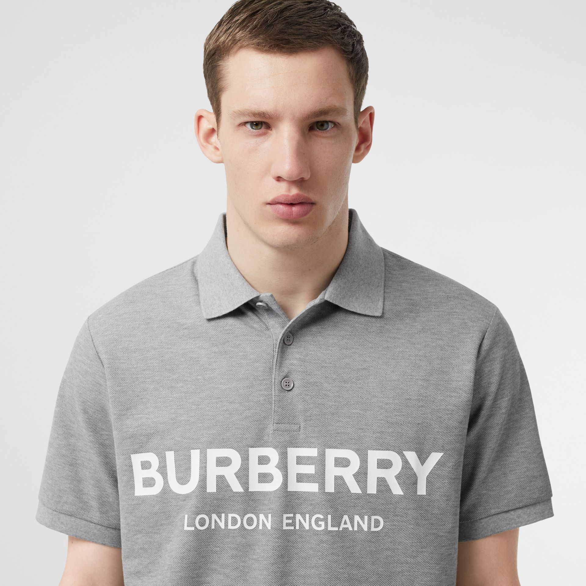 Logo Print Cotton Piqué Polo Shirt in Pale Grey Melange - Men | Burberry Australia - gallery image 1