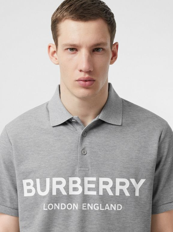 Logo Print Cotton Piqué Polo Shirt in Pale Grey Melange - Men | Burberry Australia - cell image 1