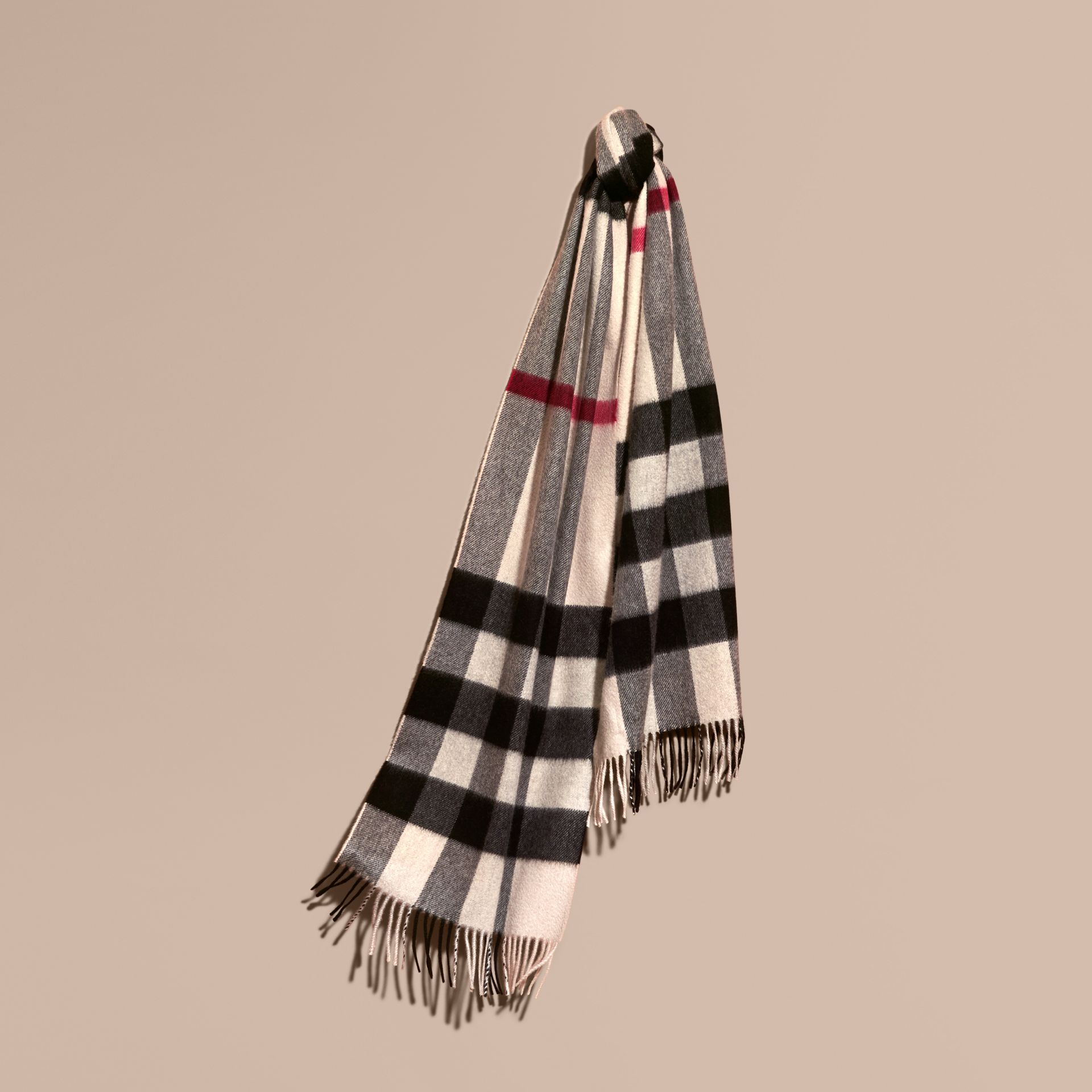 The Large Classic Cashmere Scarf in Check Stone - gallery image 6