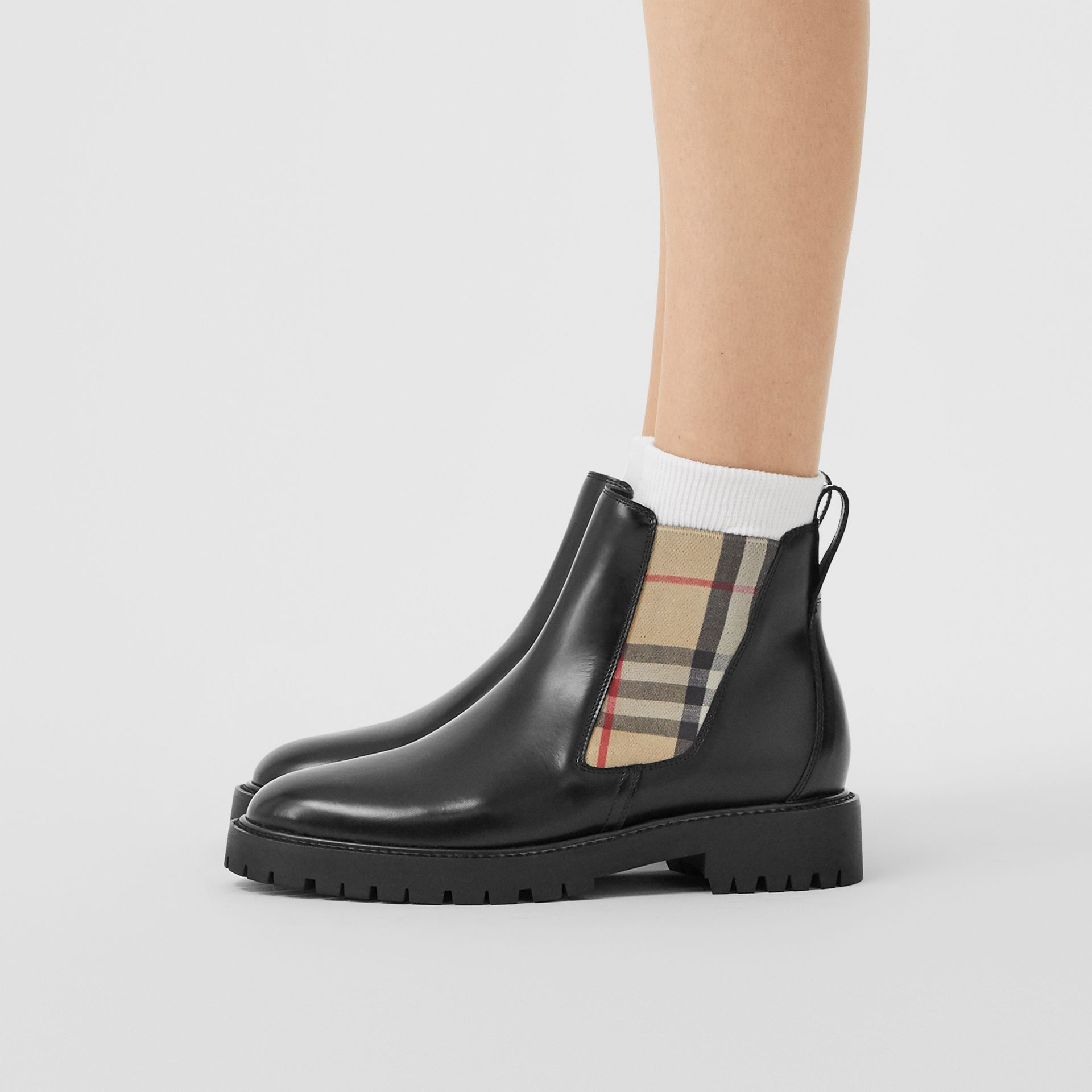 Vintage Check Detail Leather Chelsea Boots in Black - Women | Burberry Canada - gallery image 2