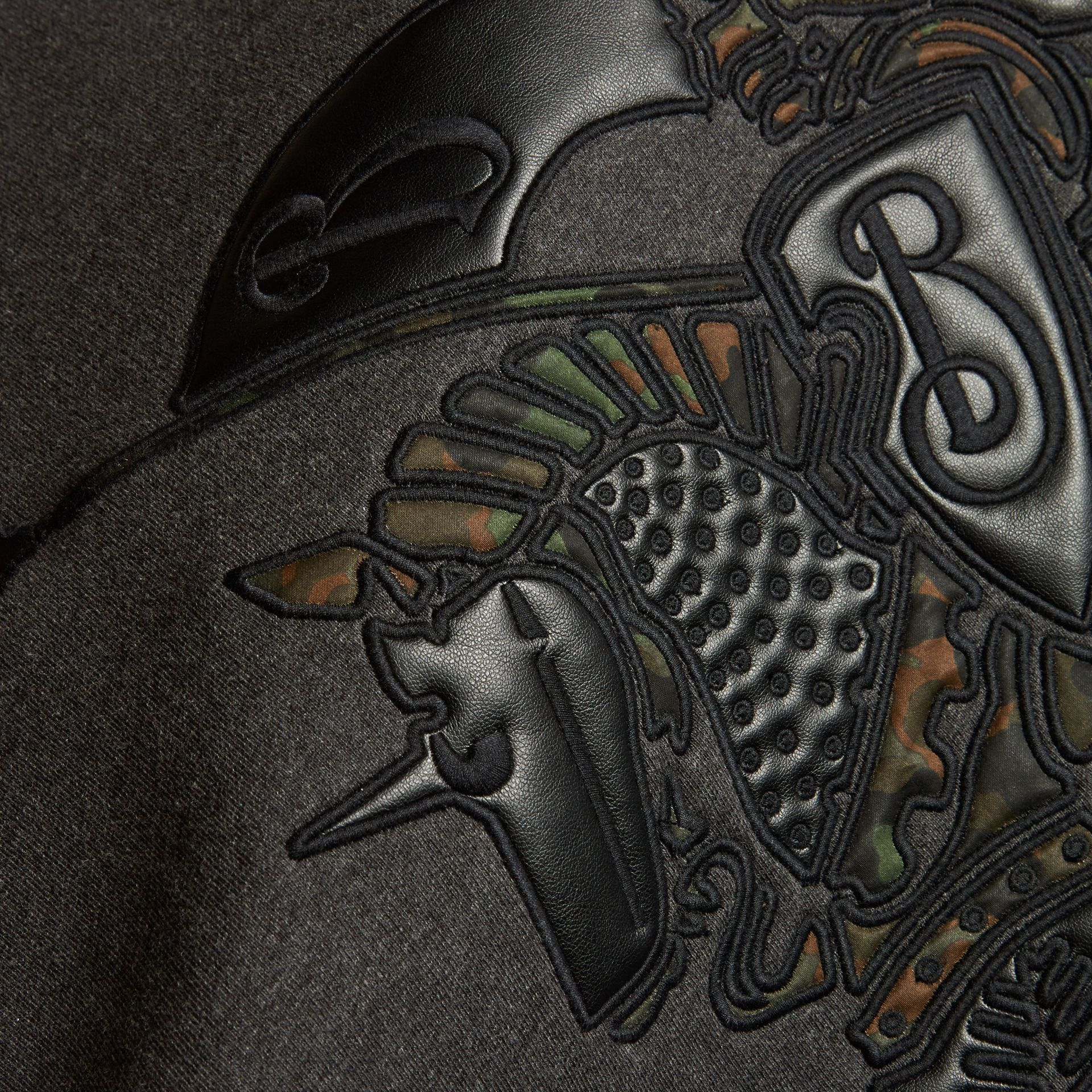 チャコールメランジ エクエストリアンナイト デヴァイス コットン&ラムスキン スウェットシャツ - ギャラリーイメージ 2