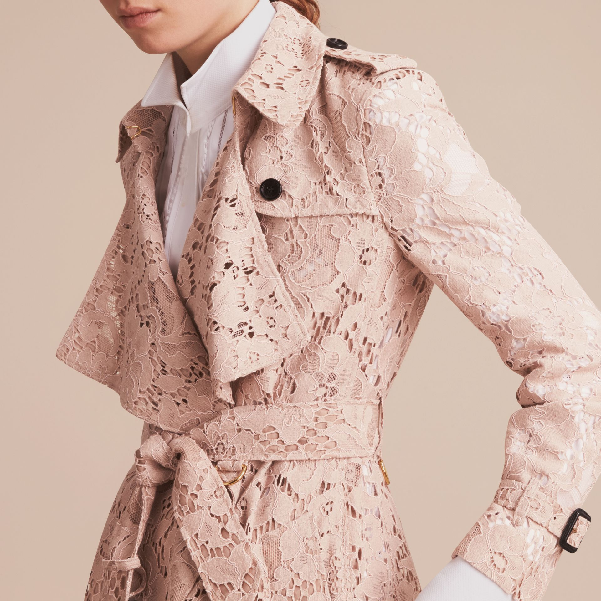 Macramé Lace Wrap Trench Coat - gallery image 5