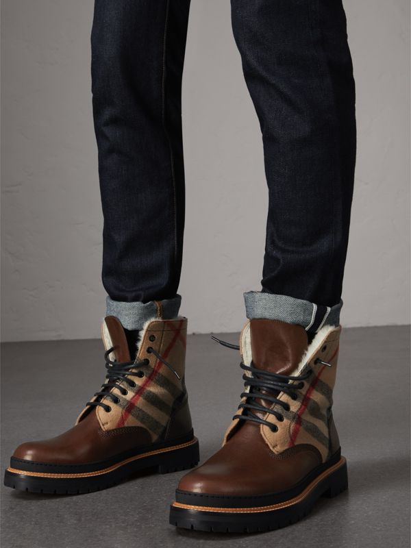 Shearling-lined Leather and Check Boots in Mid Camel - Men | Burberry United Kingdom - cell image 2