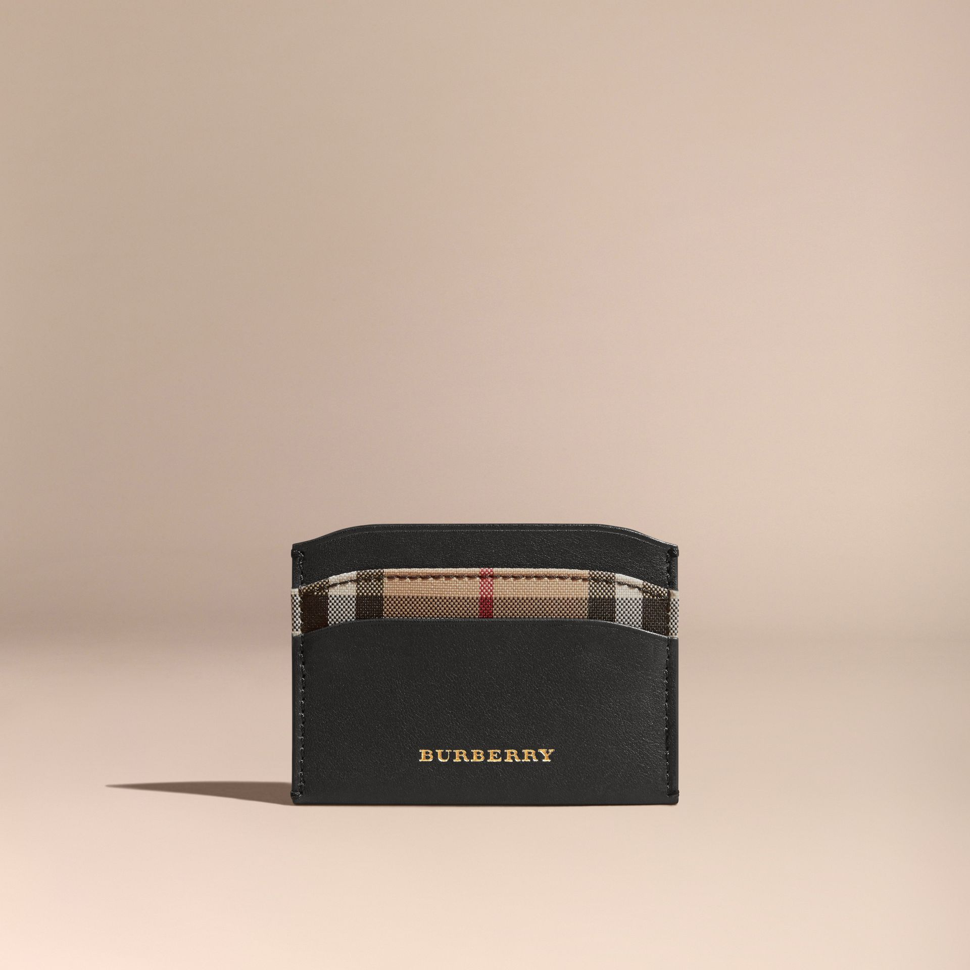 Check and Leather Card Case in Black - Women | Burberry - gallery image 5