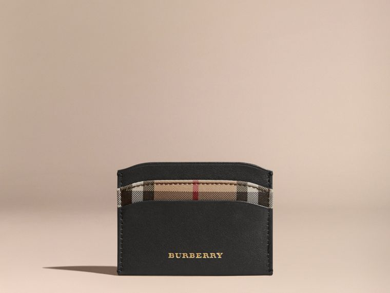 Check and Leather Card Case in Black - Women | Burberry - cell image 4