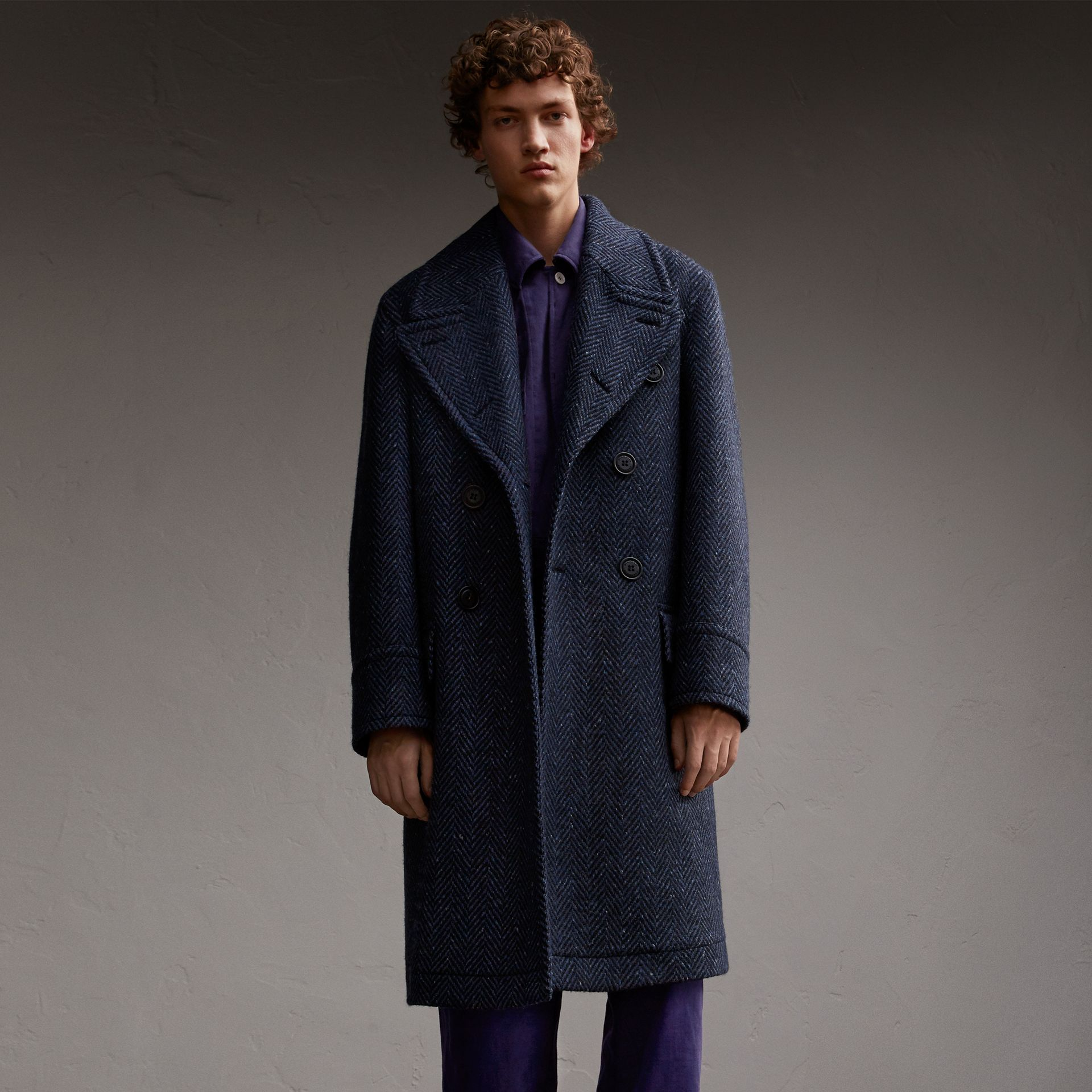 Donegal Herringbone Wool Tweed Topcoat - gallery image 1