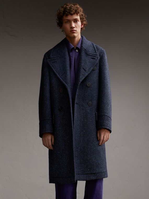 Bonded Donegal Herringbone Wool Tweed Topcoat