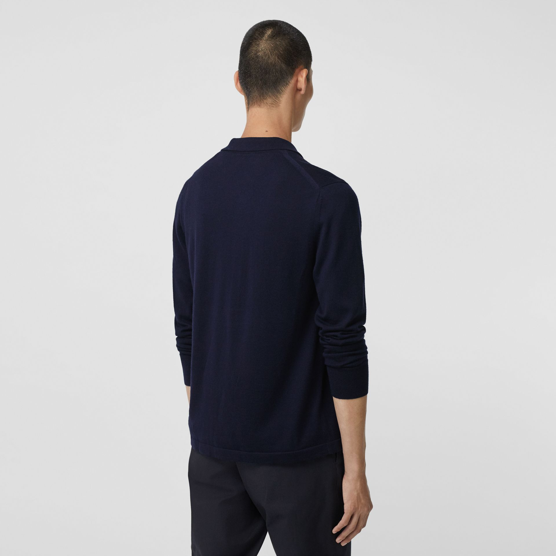 Long-sleeve Monogram Motif Merino Wool Polo Shirt in Navy - Men | Burberry - gallery image 2