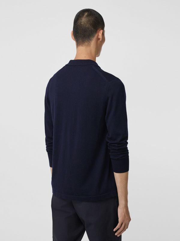 Long-sleeve Monogram Motif Merino Wool Polo Shirt in Navy - Men | Burberry Canada - cell image 2