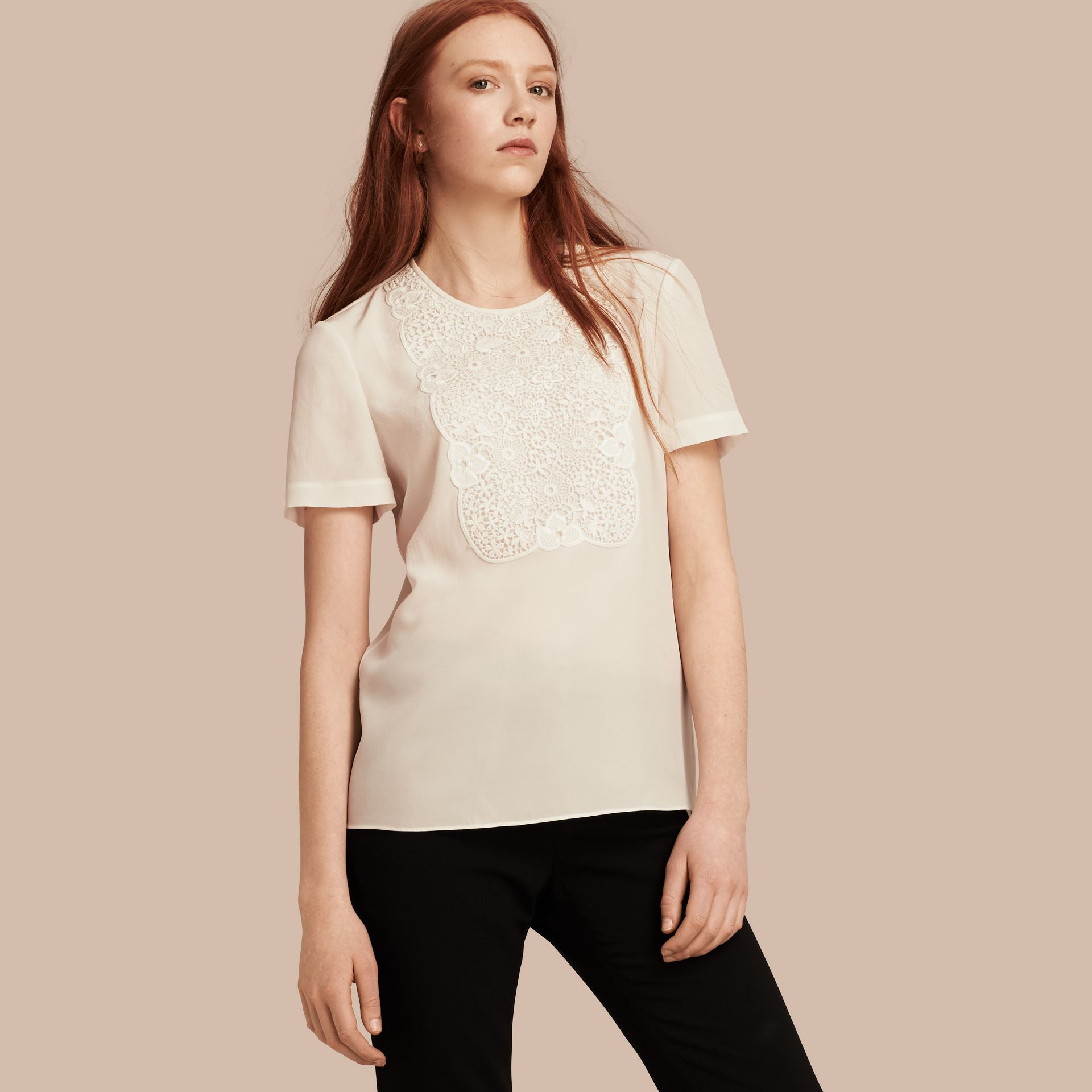 White Lace Panel Silk Top White - gallery image 1
