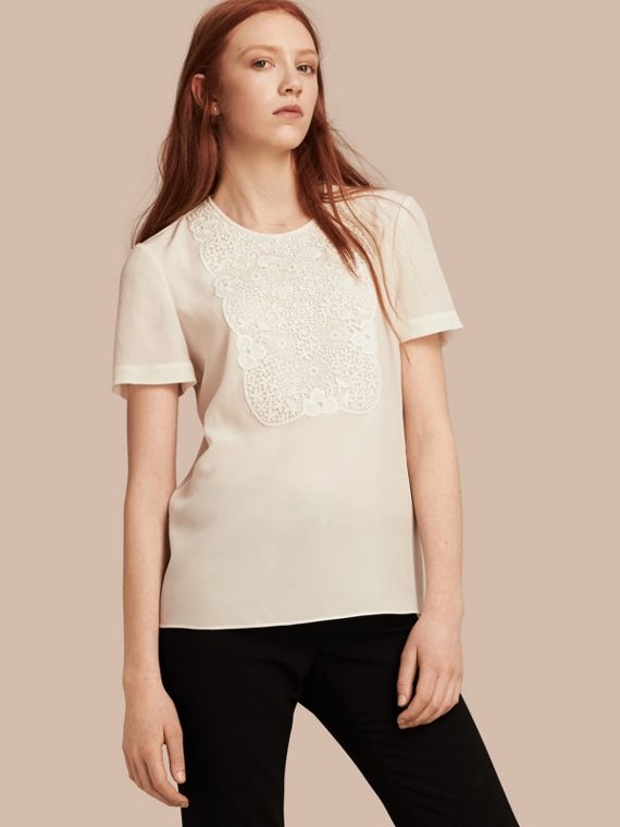 Lace Panel Silk Top White