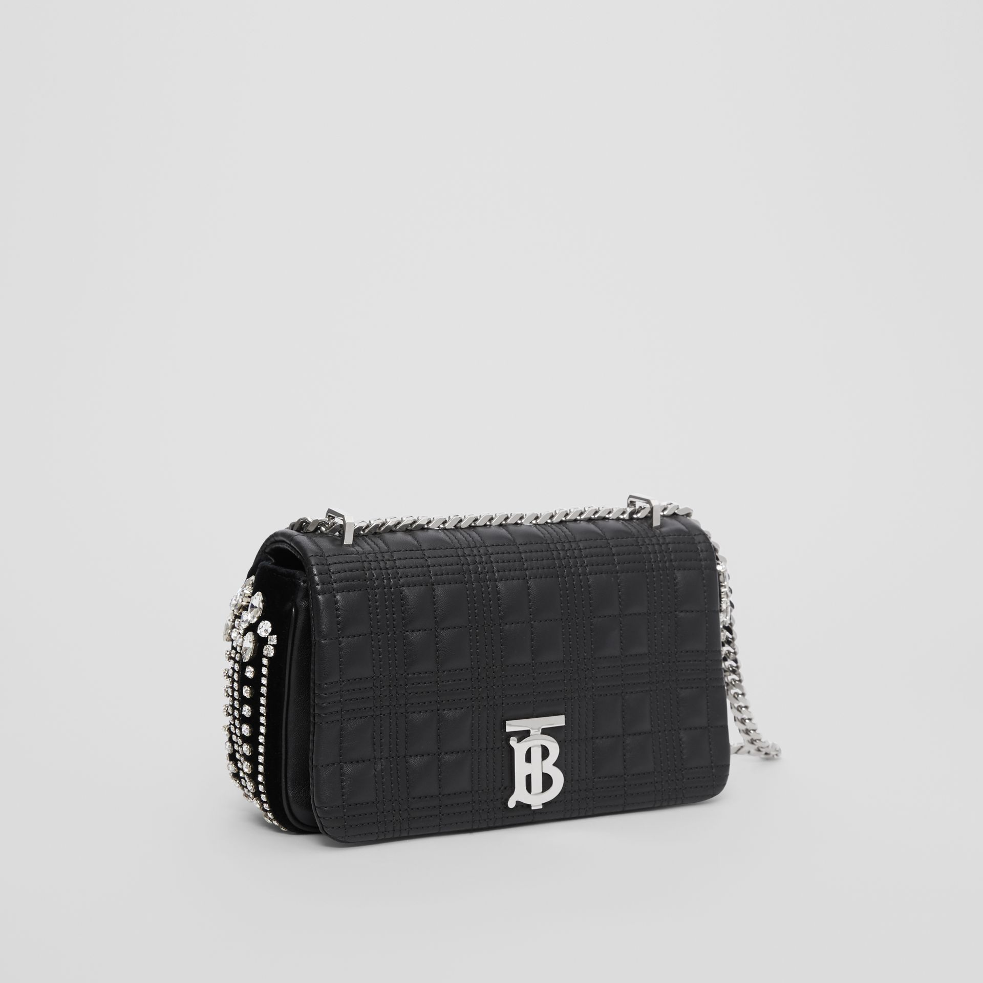 Small Crystal Detail Quilted Check Lambskin Lola Bag in Black - Women | Burberry - gallery image 3