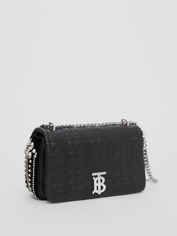 Small Crystal Detail Quilted Check Lambskin Lola Bag in Black - Women | Burberry - cell image 3