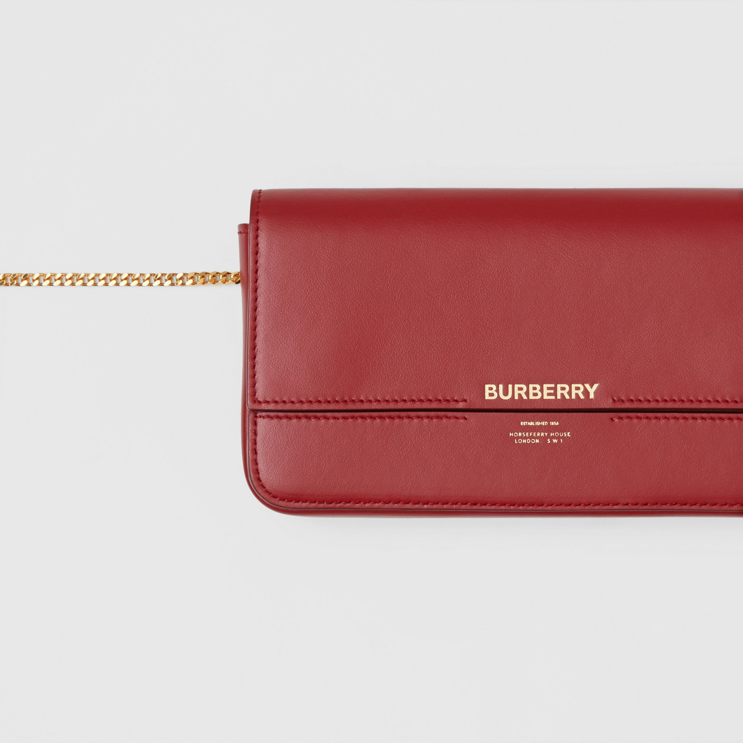 Leather Wallet with Detachable Chain Strap in Dark Crimson - Women | Burberry - 2