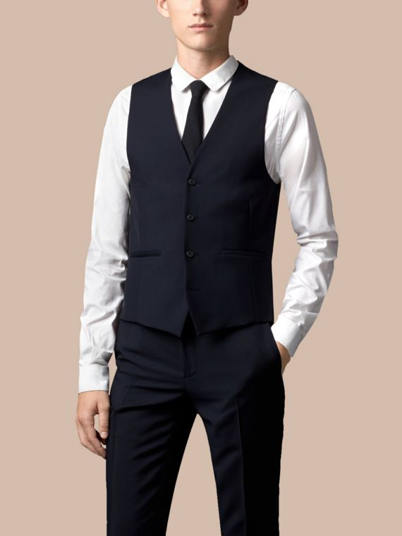 True navy Slim Fit Wool Mohair Part-canvas Three-Piece Suit - cell image 2