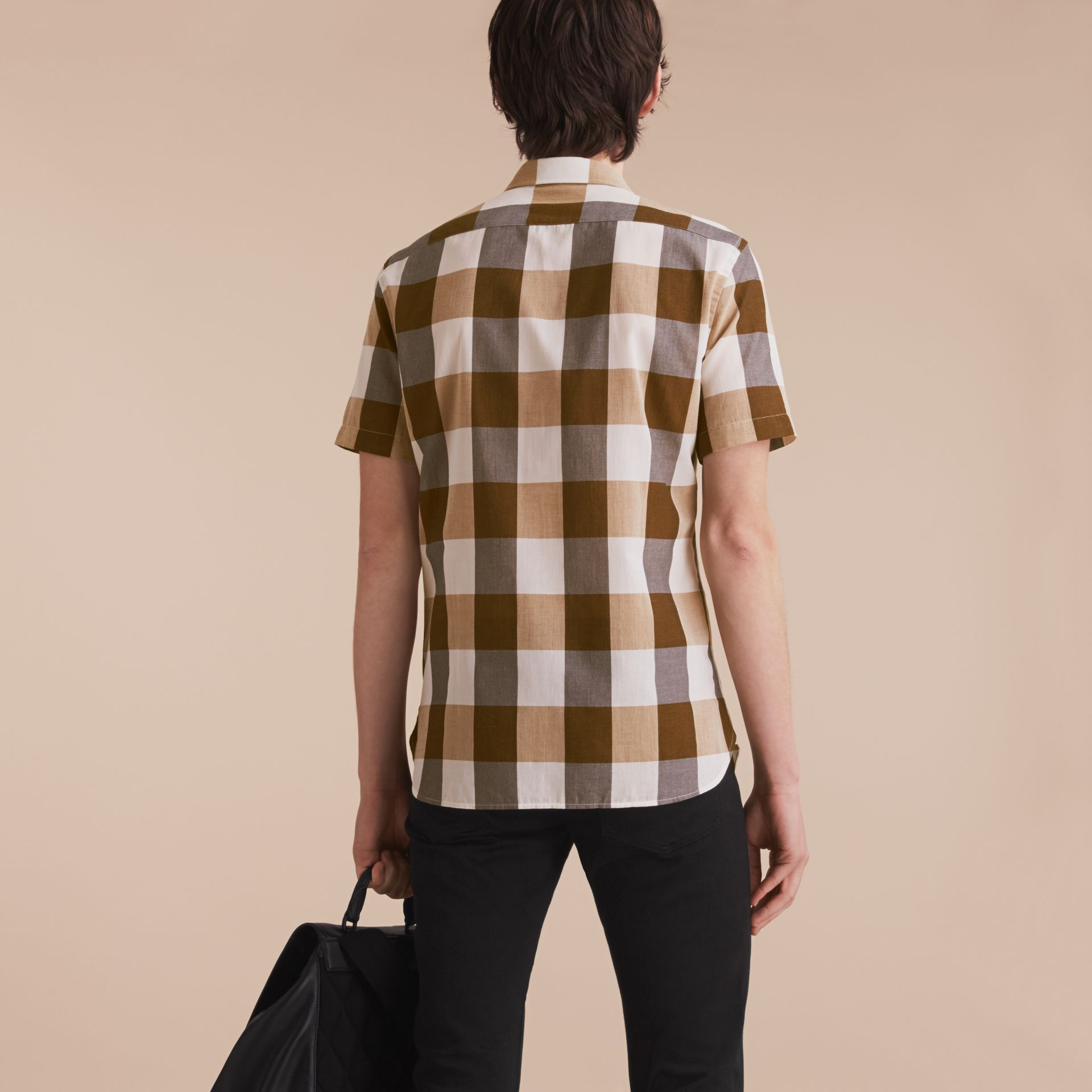 Short-sleeved Exploded Gingham Cotton Linen Shirt Camel - gallery image 3