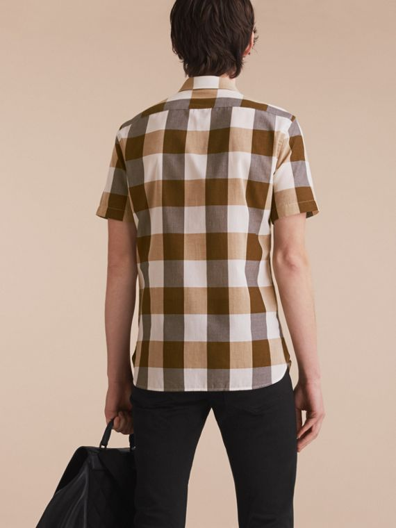 Short-sleeved Exploded Gingham Cotton Linen Shirt Camel - cell image 2