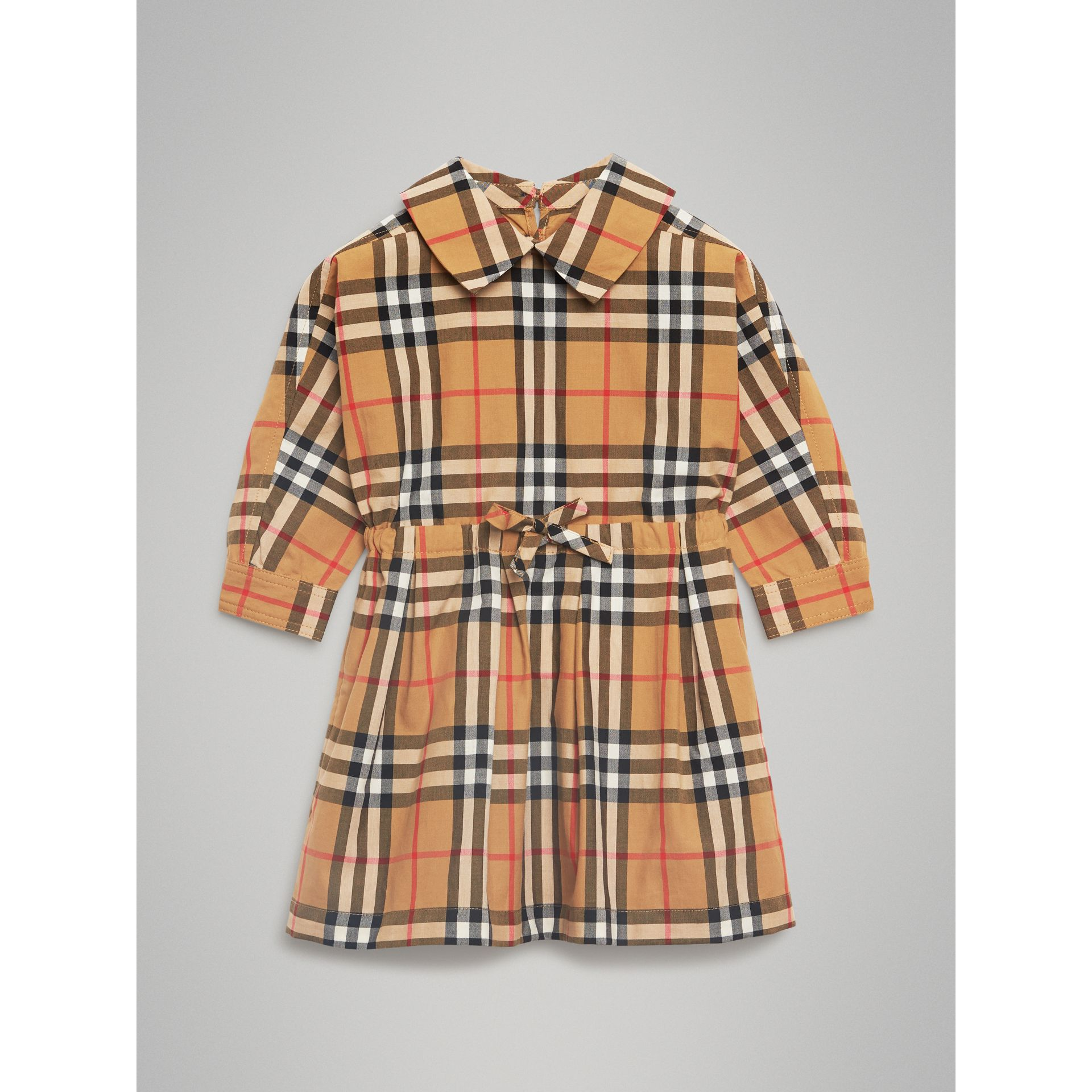 Vintage Check Cotton Drawcord Dress in Antique Yellow | Burberry - gallery image 0