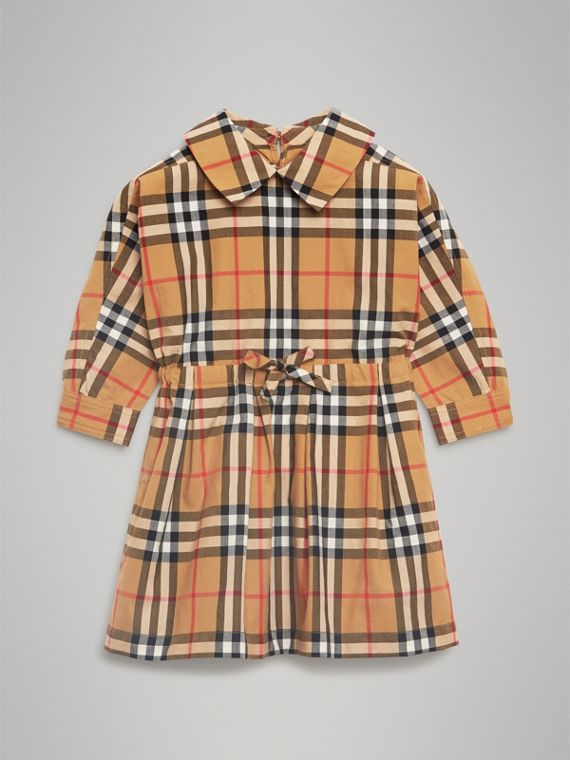 Vintage Check Cotton Drawcord Dress in Antique Yellow