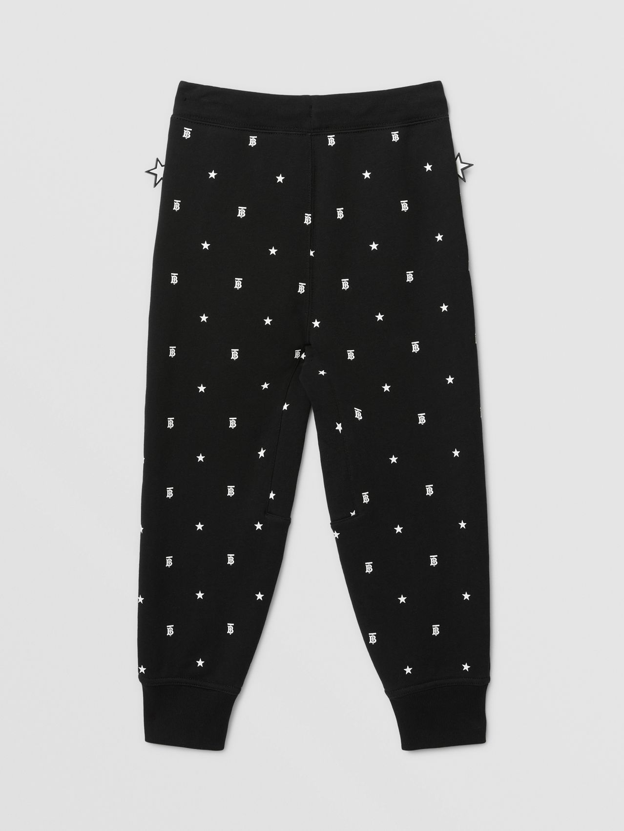 Star and Monogram Motif Cotton Jogging Pants in Black