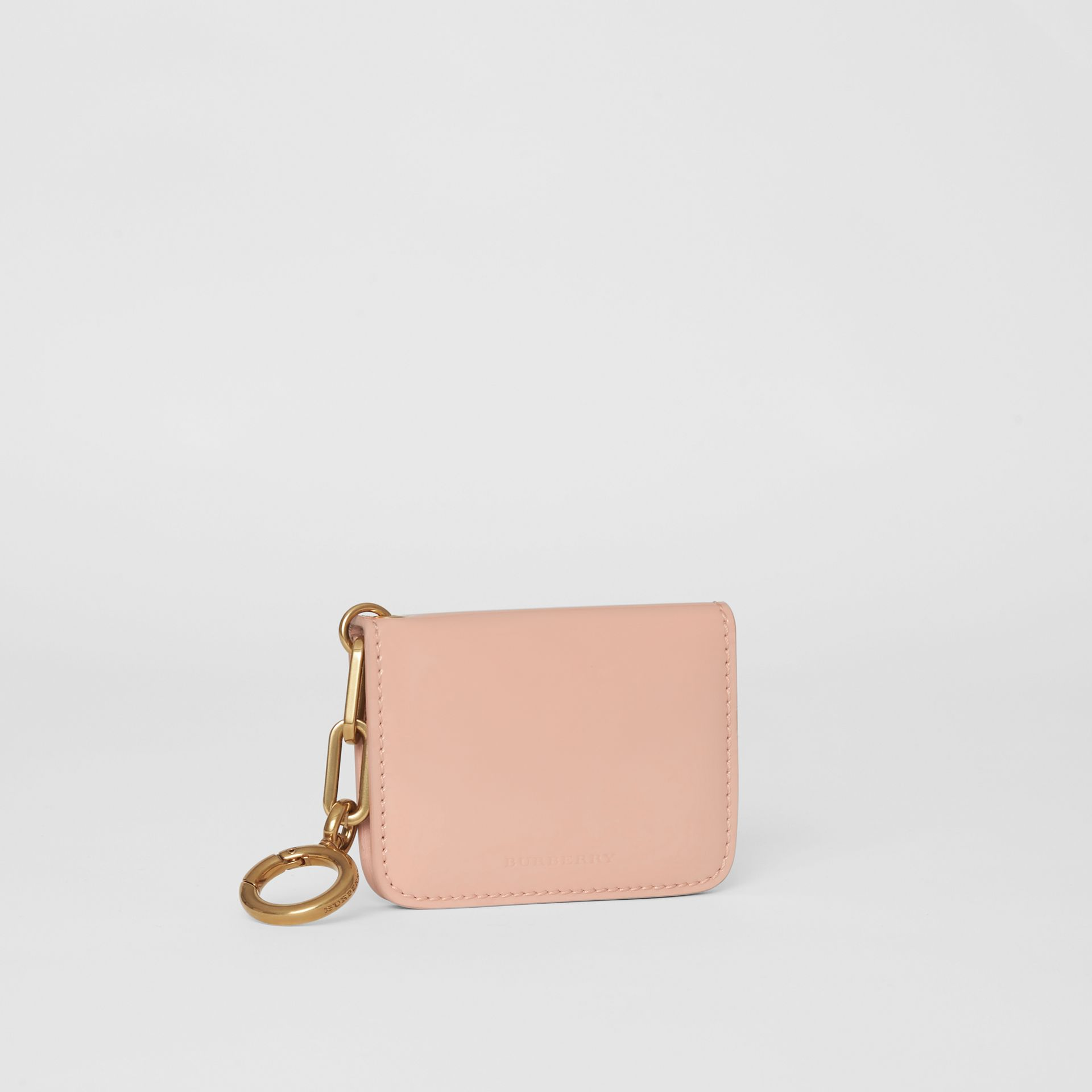Link Detail Patent Leather ID Card Case Charm in Pale Fawn Pink - Women | Burberry United States - gallery image 4