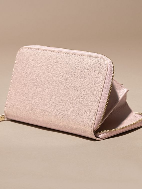 Glitter Patent London Leather Ziparound Wallet in Pale Orchid - cell image 3