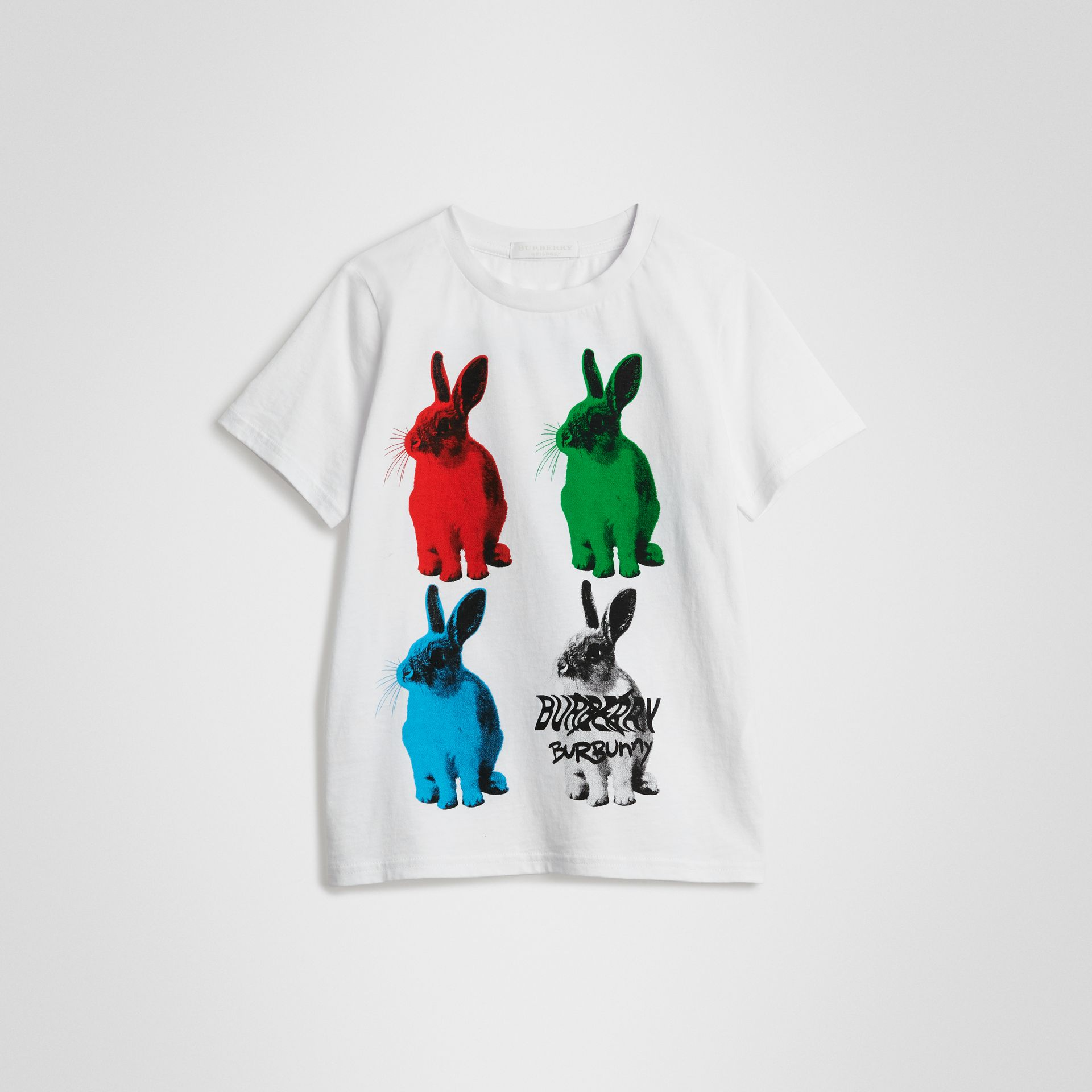 Rabbit Print Cotton T-shirt in White | Burberry - gallery image 0