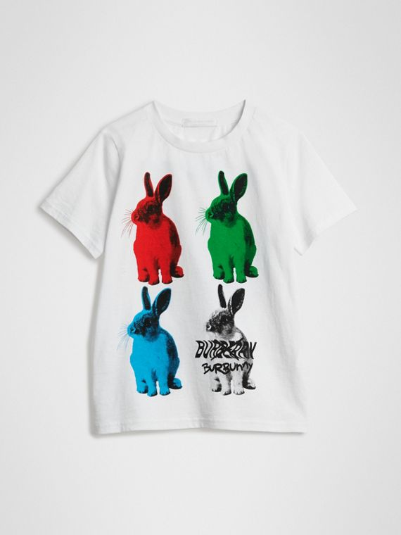 Rabbit Print Cotton T-shirt in White