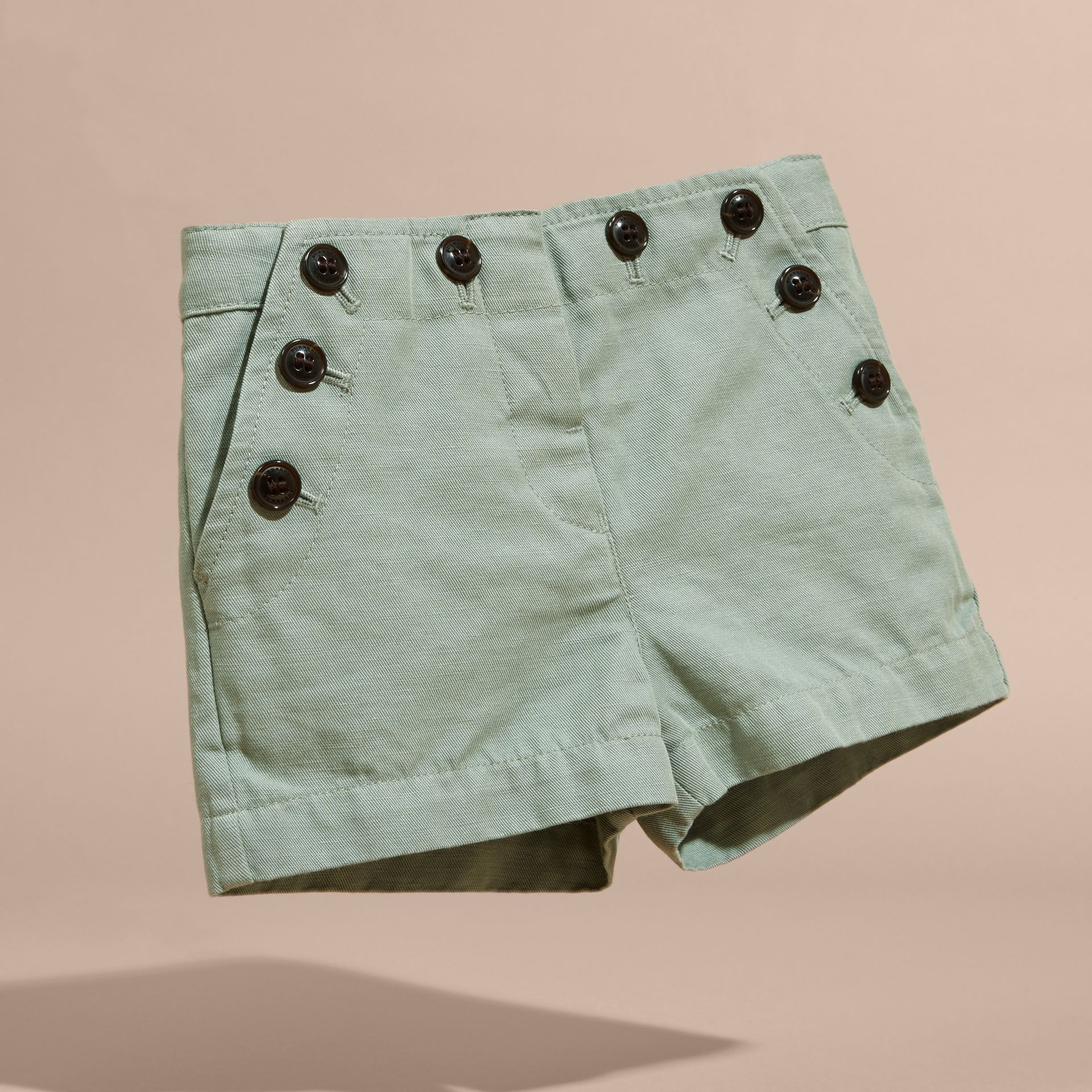 Pale eucalyptus Button Detail Cotton and Linen Shorts - gallery image 3
