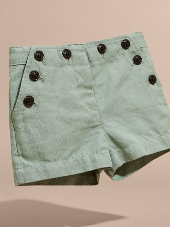 Pale eucalyptus Button Detail Cotton and Linen Shorts - cell image 2