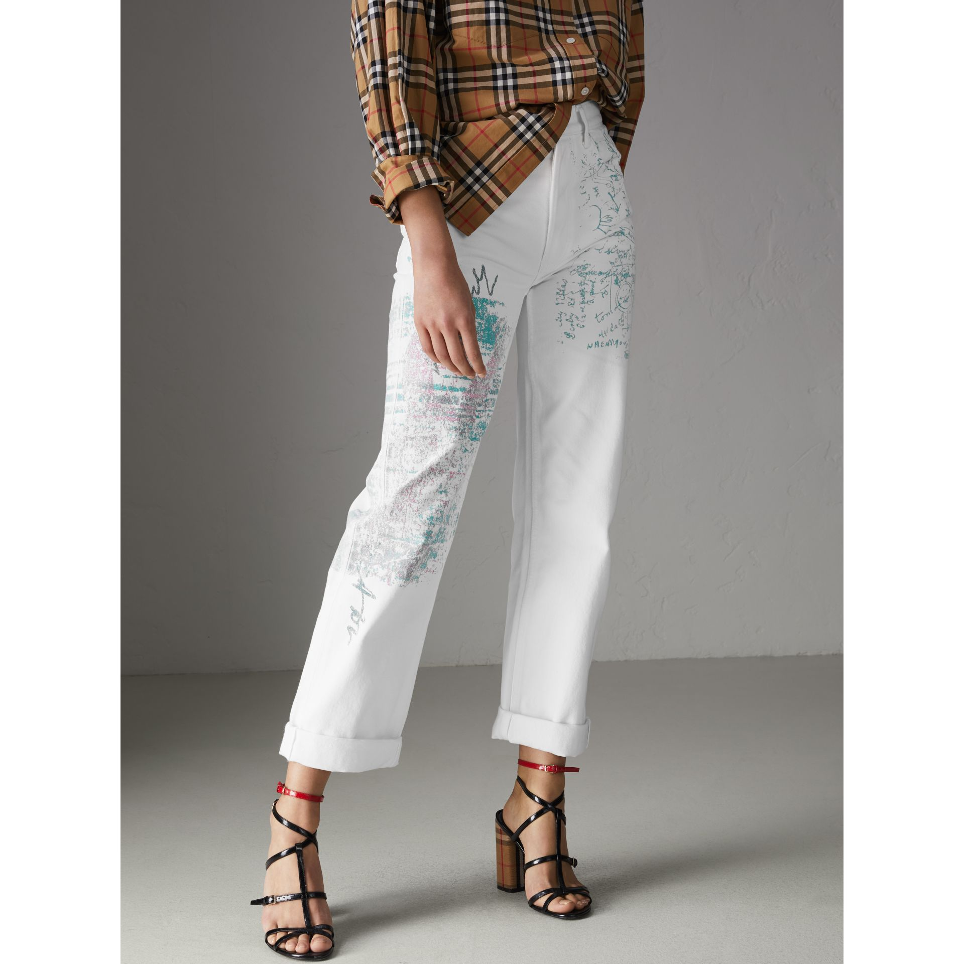 Straight Fit Postcard Print Japanese Denim Jeans in Natural White - Women | Burberry Australia - gallery image 5